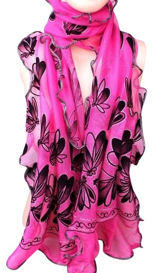 Preload https://item1.tradesy.com/images/unknown-pink-ruffled-butterfly-print-sparkle-scarf-free-shipping-5450995-0-0.jpg?width=440&height=440
