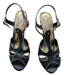Sergio Zelcer Dark Brown with Blue Trim Platforms