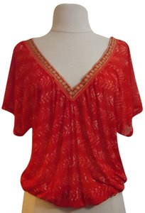 Free People Casual Unique. Trim Modal Rayon Comfortable Top Orange / Gold