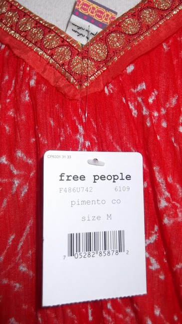 Free People Casual Unique. Modal Rayon Comfortable Top Orange / Gold