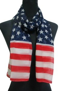 All American Red White & Blue Chiffon Scarf Free Shipping