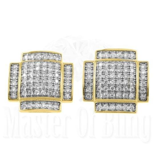 Other Convex Style Unique Custom Lab Diamond Gold Finish Silver Stud Earrings Gift