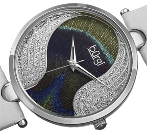 Burgi Women's Burgi Swarovski Crystal Peacock Pattern Dial White Leather Strap Watch
