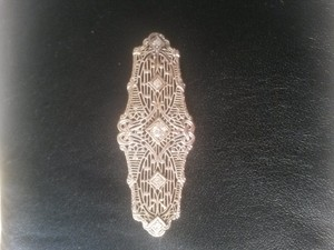 Antique Gold Lace And Diamond Pin