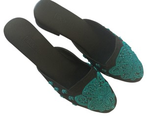 SAACHI Slides Silk Embroidered Shantung Leather Sole Leather Lining India Sparkle Slip-on Mules Handmade Custom Couture Resort Black/Turquoise Flats
