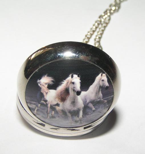 Other Running white horse pocket watch necklace free shipping
