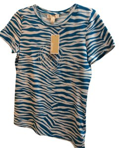 Michael Kors T Shirt Deep Teal Blue and White