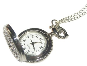 Engraved quartz pocket watch style sweater necklace free shipping