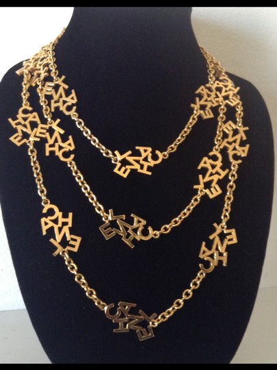 """Chanel 70"""" RARE VINTAGE CHANEL GOLD PLATED LOGO NECKLACE"""