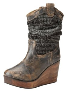 Bed Stü Black Distressed Leather Wedge Boots