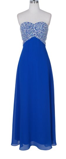 Blue Chiffon Crystal Beads Bodice Open Back Long Formal Bridesmaid/Mob Dress Size 0 (XS)