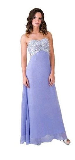 Purple Chiffon Crystal Beads Bodice Open Back Long Formal Bridesmaid/Mob Dress Size 0 (XS)