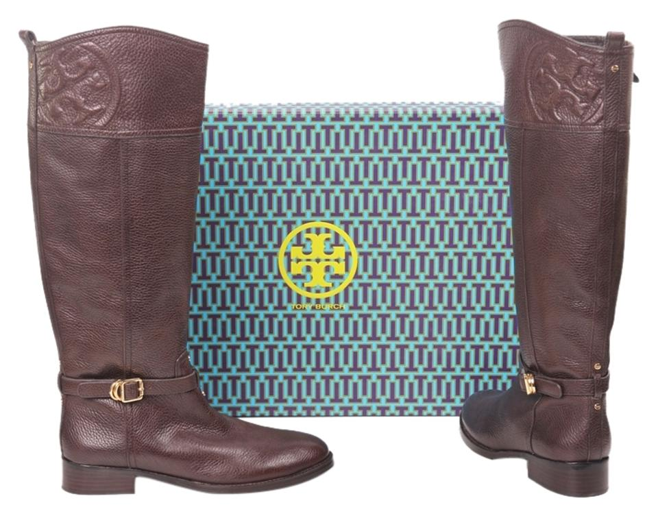 Tory Tory Tory Burch Brown Marlene Leather Logo Riding Boots/Booties 5c229e