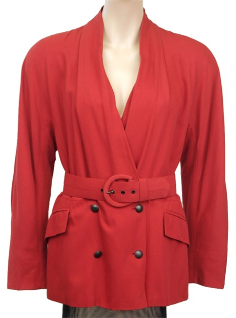 Max Mara Max Mara Red jacket with draped neckline and peplum; Cotton/Rayon