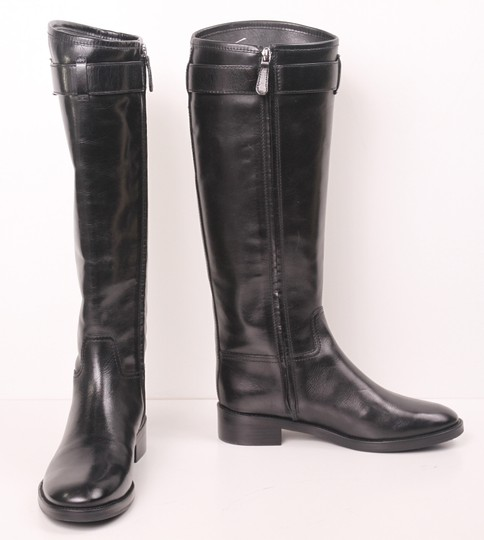 Tory Burch Riding Knee High Flat Leather Leather Designer Luxury Black Boots
