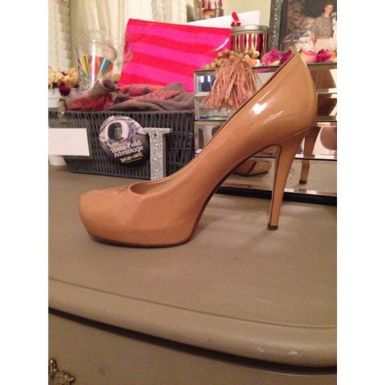 Kate Spade Camel Tan Beige Patent Patent Leather Leather Heels Pumps High Comfortable Nude Platforms