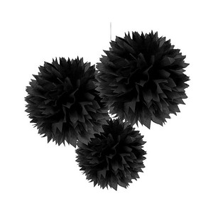 """Black 15pcs - 4"""" 8"""" 12"""" Mixed 3-sizes Tissue Paper Pom-poms Flower Party Home Indoor Outdoor Hanging Other"""