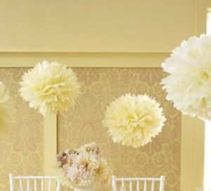 "Ivory / Light Yellow 15pcs - 4"" 8"" 12"" Mixed 3-sizes / Tissue Paper Pom-poms Pompom Flower Party Home Indoor Other"