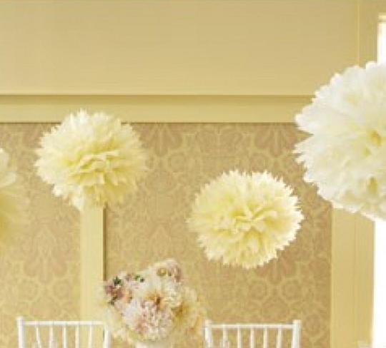 "Ivory / Light Yellow 15pcs - 4"" 8"" 12"" Mixed 3-sizes / Tissue Paper Pom-poms Pompom Flower Party Home Indoor Outdoor Hanging Other"