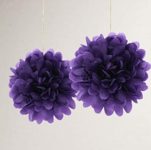 "Dark Purple 15pcs - 4"" 8"" 12"" Mixed 3-sizes Tissue Paper Pom-poms Pompom Flower Party Home Indoor Outdoor Other"