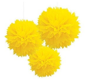 "Yellow 15pcs - 4"" 8"" 12"" Mixed 3-sizes Tissue Paper Pom-poms Pompom Flower Party Home Indoor Outdoor Hanging Other"