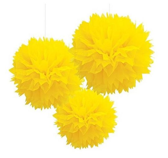"15pcs - 4"" 8"" 12"" Mixed 3-sizes Yellow Tissue Paper Pom-poms Pompom Flower Wedding Party Home Indoor Outdoor Hanging"