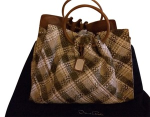 Oscar de la Renta Tote in Multi Neutral Tan With Evergreen Weaving Straw Design