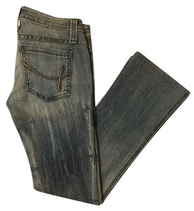 Frankie B Denim Distressed Acid Wash Boot Cut Jeans