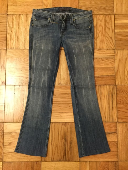 Frankie B Denim Distressed Acid Wash B Boot Cut Jeans