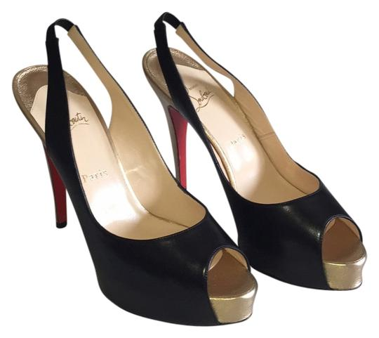 Christian Louboutin Black with Gold Heel Platforms