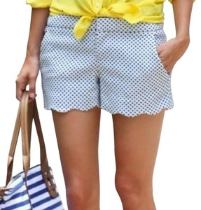 Club Monaco Polka Dot Scalloped Mini/Short Shorts White and Blue