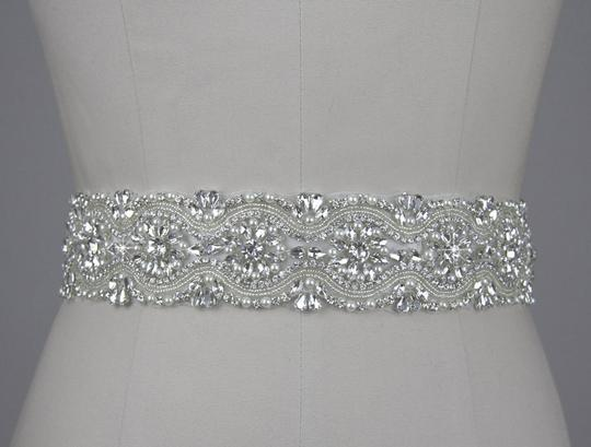 Stunning White/Ivory Crystal Beaded Sequined Dress Belt Dress Sash