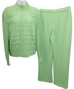 St. John ST. JOHN COLLECTION AVOCADO GREEN KNIT PANT SUIT 10 12