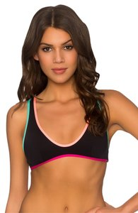 B. Swim Nova Topper Double Knit Fabric Black And Neon Colorblock Bikini Top