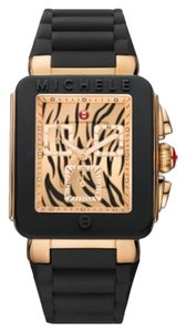 Michele NWT Michele Park Jelly Black Rose Gold Tiger Dial Mww06L000017