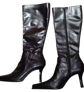 Franco Sarto Knee High Zippered Wider Calf Black Silver Boots