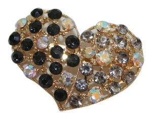 Other Beautiful Rhinestone Half and Half Heart Brooch