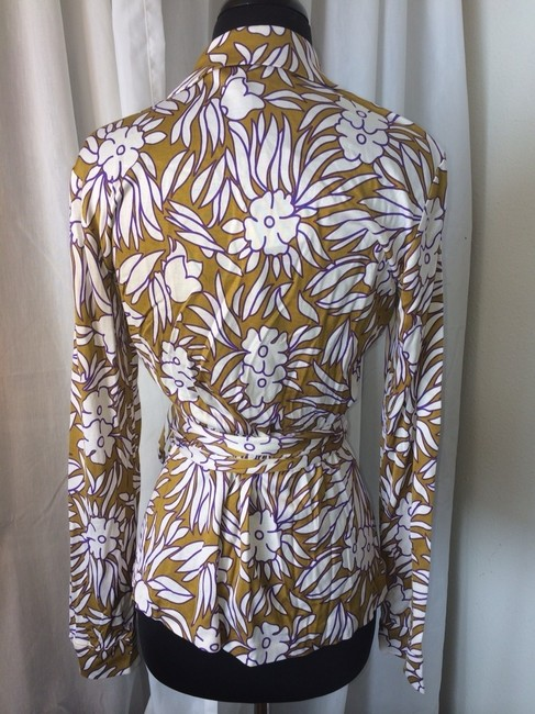 Diane von Furstenberg Top Tropical Plants Small Mustard (mustard/purple/white)