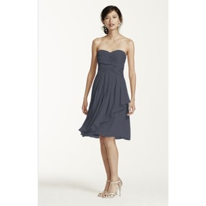 David's Bridal Slate Grey Chiffon Feminine Bridesmaid/Mob Dress Size 0 (XS)