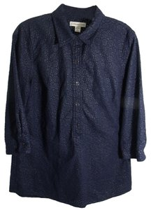 Coldwater Creek Floral Eyelet Embroidered Top blue