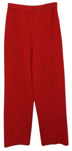 St. John Collection Marie Gray Knit Straight Pants RED