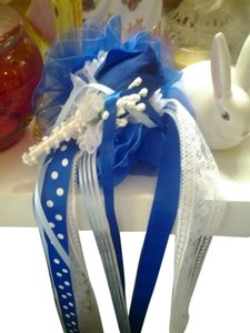Cate 'Blue Wedding Boutonniere' HairBow