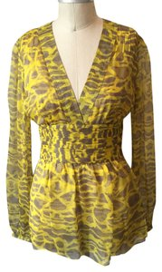 Catherine Malandrino Designer Abstract Print Silk Chiffon Kimono Sheer Top Yellow & Gray