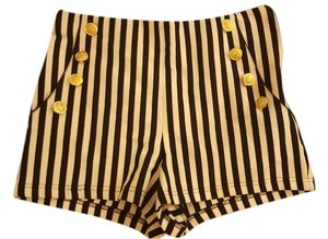 Forever 21 Striped Vertical Striped Waist High Sailor Navy Theme Vertical Stripes Mini/Short Shorts Black and White