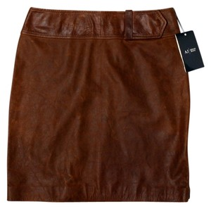 Armani Collezioni Leather Classic Mini Skirt Chocolate Brown
