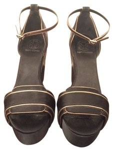 Tory Burch Formal Black with Gold Wedges