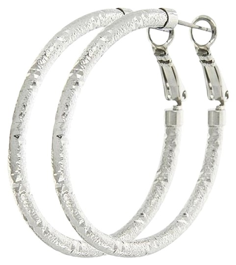 Blue Epic Rhodiumized Circle Hoops Earrings