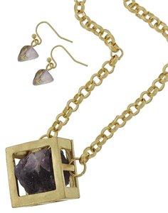 WILD FLOWER Gold Tone Purple Stone Necklace and Earrings