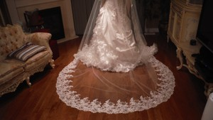 Ivory Long Cathedral Lace Bridal Veil