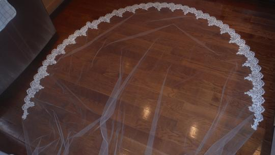 Ivory Long Lace Cathedral Bridal Veils